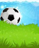 Soccer ball on grass — Stock Vector