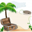 Tropical island, palm trees and pirate chest — Stock Vector #48446567