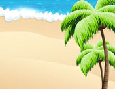Beach with palm trees  — Stock Vector