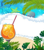 Cocktail on tropical background — Stock Vector