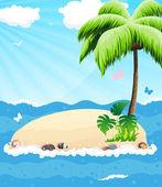 Island in the ocean — Stock Vector