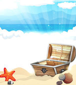 Treasure Chest on the sand — Stockvektor