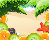 Tropical fruits slices on a background of the sea coast — Stock Vector