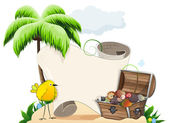 Tropical island with treasure chest  — Stock Vector