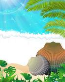 Sunny tropical beach — Stock Vector