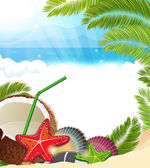 Tropical background with  palm trees and coconut cocktail — Stock Vector