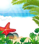 Tropical beach with cockleshells and starfishes — Stock Vector