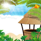 Tropical beach with cocktail Bar — Stock Vector
