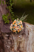 Bouquet of roses on a tree stump — Stock Photo