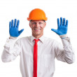 Businessman in work gloves — Stock Photo