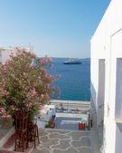 крейсер и бугенвиль в греческий остров — Стоковое фото