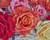 Colorful textile roses — Stock Photo