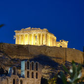 Parthenon illuminated, Acropolis of Athens, Greece — Stock Photo