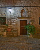 Church entrance, night at Chios island, Greece — Stock Photo