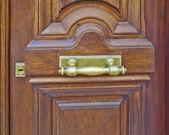 Natural walnut wood door — Stock Photo