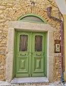 Green door, Greece — Stock Photo