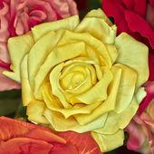 Fake handmade yellow rose flower — Stock Photo