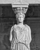 Caryatid ancient statue in black and white — Stock Photo