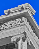 Ancient temple detail in black and white — Stock Photo