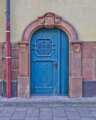 Arched blue door, central Europe — Stok fotoğraf
