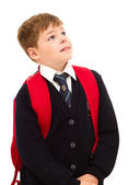 School boy standing and looking up. — Stock Photo