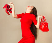 Happy woman after shopping. — Stock Photo