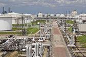Silos y la refinería de petróleo — Foto de Stock
