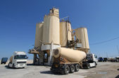 Cement Factory and Trucks — Stock Photo