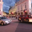 Double decker busses on Piccadilly Circus in London, UK — Stock Video
