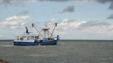 Fishing Trawler sails out to Sea — Stock Video