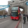 Bus on Tower Bridge in London, UK — Stock Video