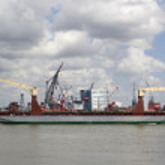 Ship in Rotterdam Harbor — Stock Photo #44244679