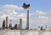 Oil Refinery with Fire and Smoke — Stock Photo