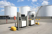 Petrol Pumps and Oil Silos — Stock Photo