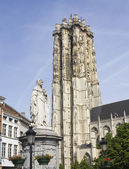 Statue and Cathedral of Mechelen, Belgium — Stock Photo