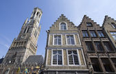 Houses and Belfort in Bruges — Stock Photo