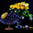 Stock Photo: Yellow roses and fruits