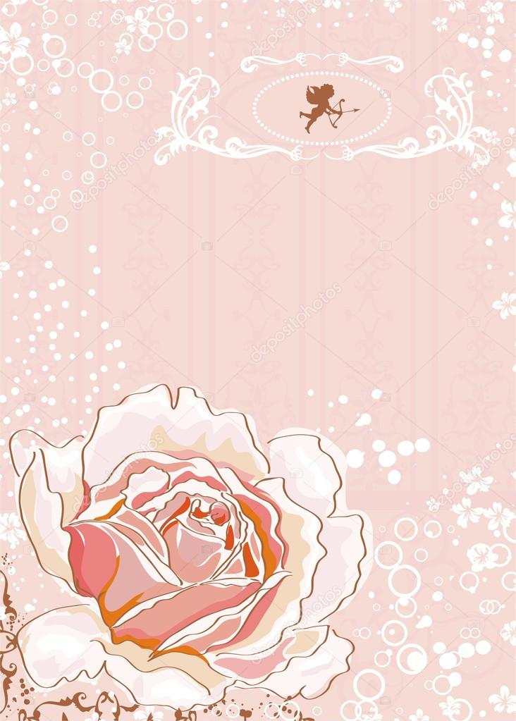 Little cupids and pink rose vector illustration — Stock Vector #12526137