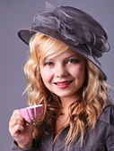Beautiful young girl at a tea party — Stock Photo