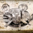 Old antique silverware — Stock Photo