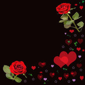 Valentines card with red roses and red heart — Stock Photo