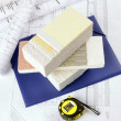 Piece of Styrofoam with plaster, — Stock Photo