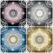 Set of four color ornament floral seamless texture — ストック写真