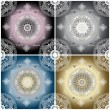 set of four color ornament floral seamless texture — Stock Photo