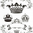 Stock Photo: Collection of crowns, vintage illustration