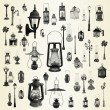Illustration with street lamps, lanterns collection — Stock Photo #31850983