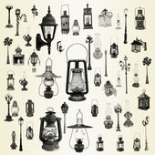 Illustration with street lamps, lanterns collection — Stock Photo