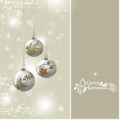 Background with silver Christmas baubles — Stok fotoğraf