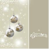 Bakgrund med silver julgranskulor — Stockfoto