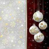 Background with red Christmas baubles, illustration. — Stock Photo